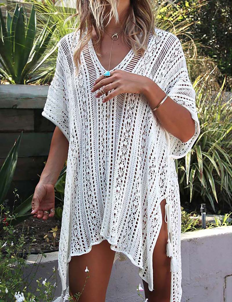 Plus Size Beach Cover Up Knitted Sarong 2020 Robe De Plage Bikini Cover Up Tunic For Beach Pareo Swimsuit Cover Up Beachwear