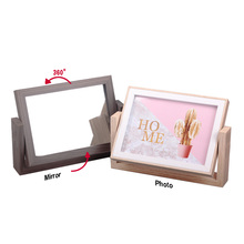 Wooden Photo Frame Mirror Frame Multifunctional photo frame Desktop Decor, Picture Frames Wedding Gift giftgarden 5x7 silver alloy classic crown photo frames vintage picture frame table decoration anniversary gift wedding decor