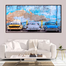 HD printing modern giant template 3 retro cars for home living room study decoration цена