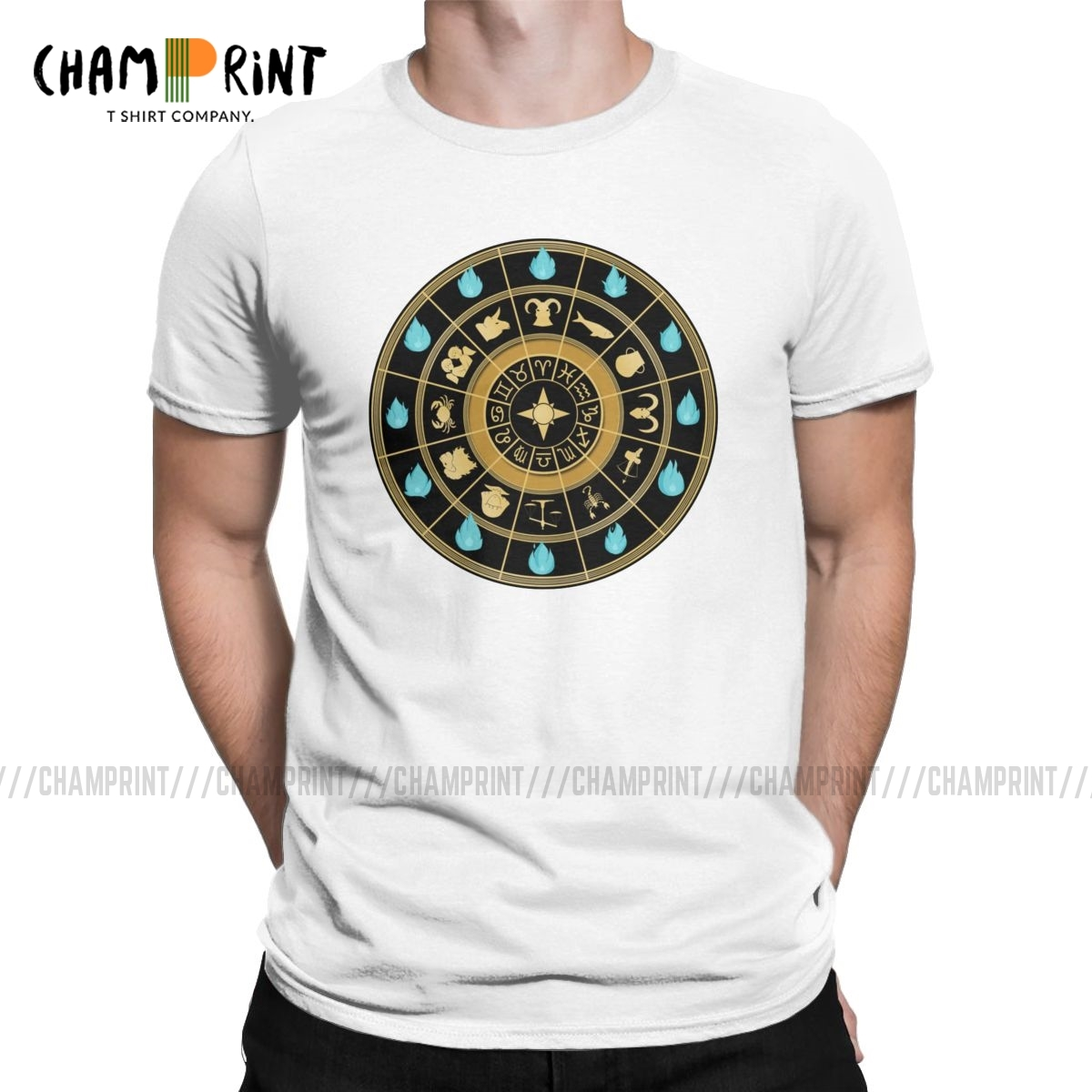Saint Seiya Clock T Shirts For Men Cotton Vintage T-Shirts Crew Neck Knights Of The Zodiac Anime Tees Short Sleeve Tops Printed
