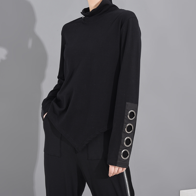 [EAM] Women Black Hollow Out Asymmetrical Split Joint T-shirt New Stand Collar Long Sleeve  Fashion Spring Autumn 2020 1M87401 4