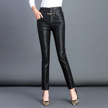 2019 Fall Winter New Women High Waist Buttons Faux PU Leather Pants Black Sexy Stretch Bodycon Pants Long Trousers Leren Broeken