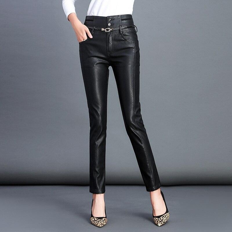 2019 automne hiver nouveau femmes taille haute boutons Faux PU cuir pantalon noir Sexy Stretch moulante pantalon Long pantalon Leren Broeken