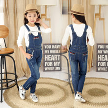 Kids Denim Overalls Jumpsuit for Girls Hole Ripped Jeans Pants Children Denim Bib Jumpsuit Teenage Jeans Suspender Trousers rolling hem ripped design denim suspender jumpsuit