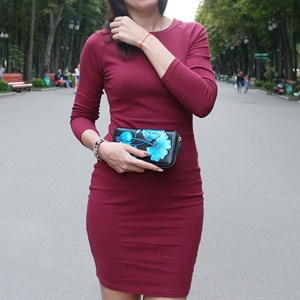 Image 2 - Women Bodycon Mini Dress Knitted Cotton Long Sleeve Burgundy Dresses 2020 Spring Pure Casual Black Women Clothes Ladies Dress
