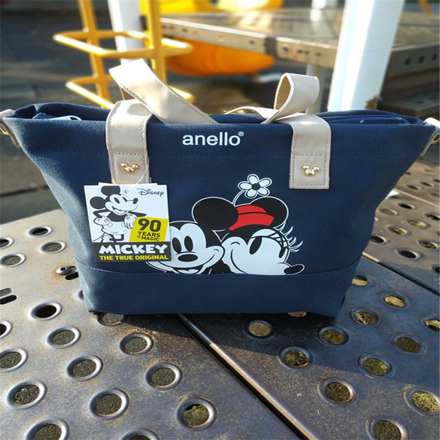 Mickey Mouse Bag Women's One-Shoulder Shoppingbags  Black Canvas Fashion Cute Cartoon Handbag Foldable Stich Bag