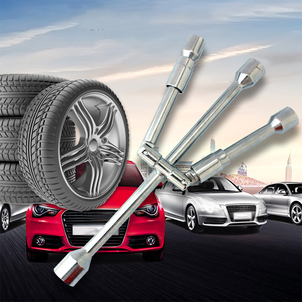 L Type Hexagon 24mm Slotted End Socket Tool Car Spare Tire Lug Wrench for Jack