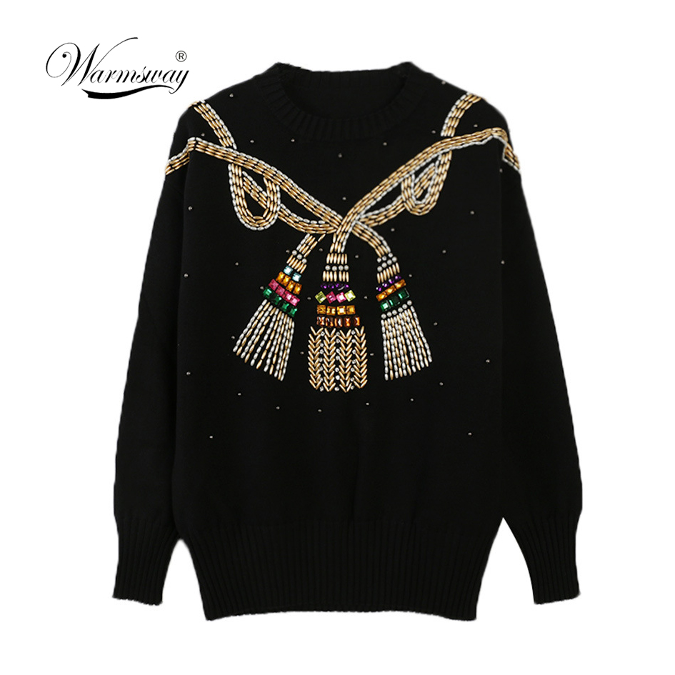 2020 Winter Christmas Runway Women Pullovers Sweaters Luxury Beading Vintage Ladies Knitted Jumper Clothes C-024