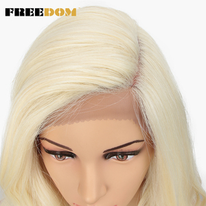 Image 5 - FREEDOM Synthetic Lace Front Wig 20 Inche Body Wave Ombre Blond 613 Asymmetry Wigs For Black Women Heat Resistant Fashion on INS