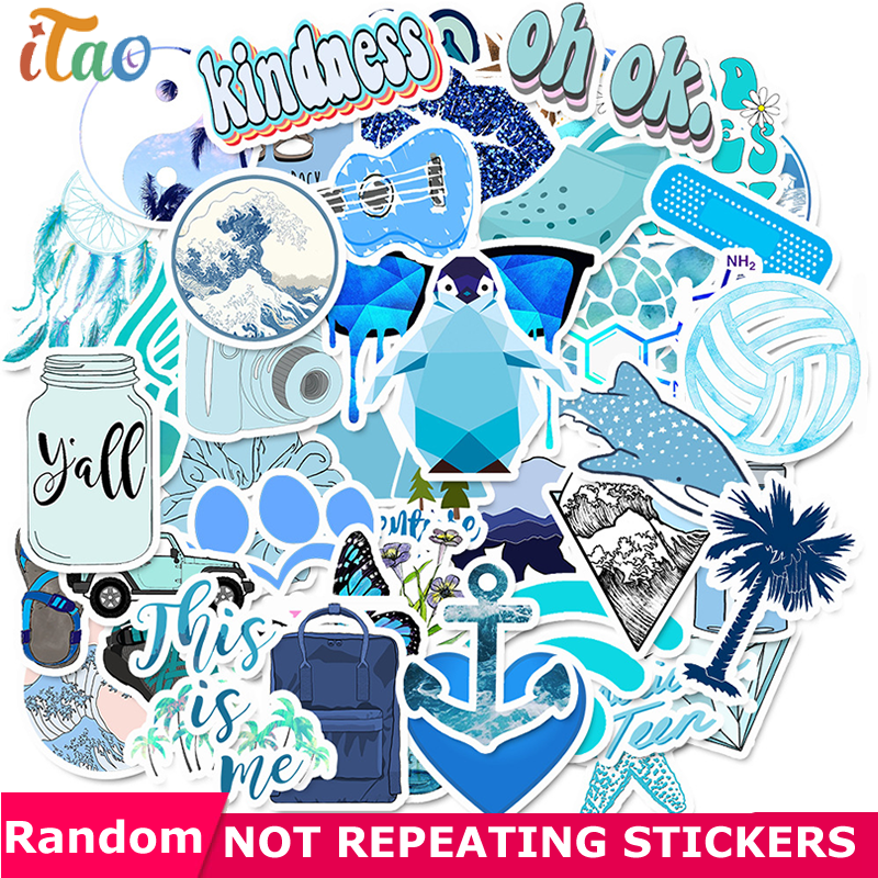 10/20/30/40/50PCS Cartoon Blue Outdoor Stickers Waterproof PVC Skateboard Laptop Luggage Snowboard Guitar Cool Stickers Kids Toy