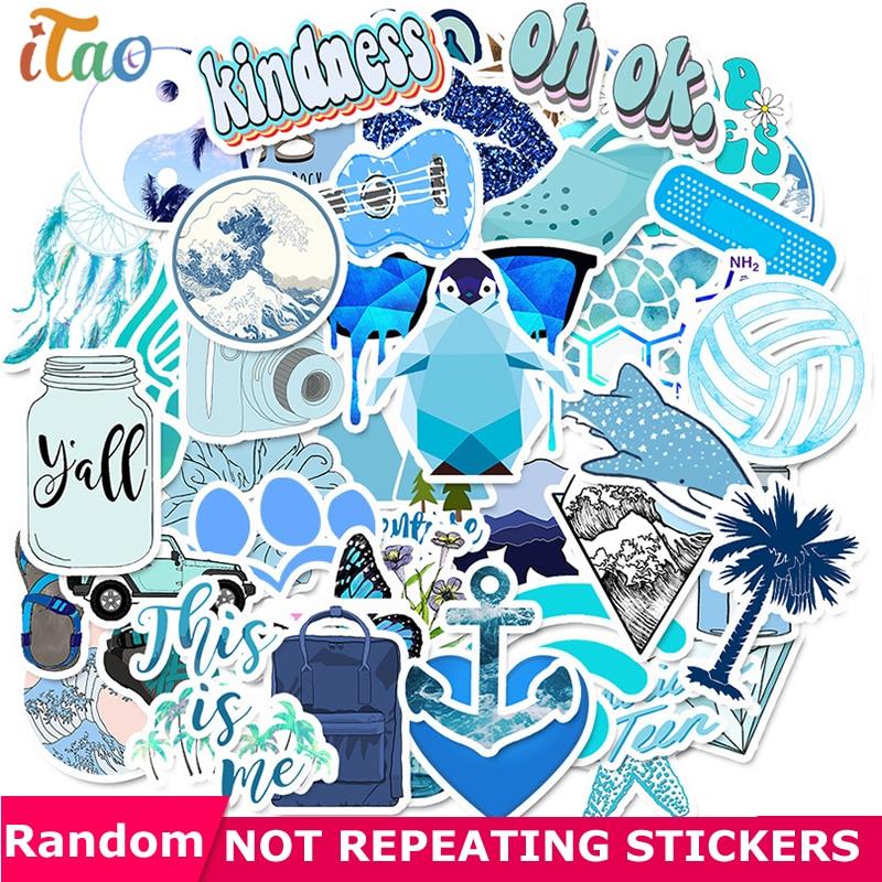 10/20/30/40/50PCS Cartoon Blue Outdoor Stickers Waterproof PVC Skateboard Laptop Luggage Snowboard Guitar Cool Stickers Kids Toy