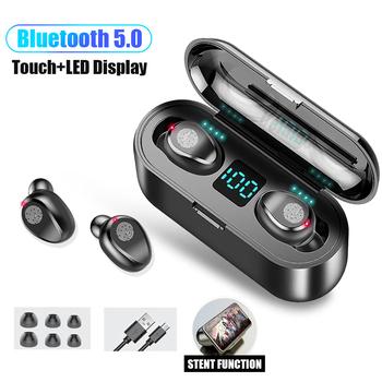 F9 TWS Bluetooth 5 0 bezprzewodowe słuchawki słuchawki dotykowe słuchawki sportowe słuchawki Stereo LED wyświetlacz Auriculare do gier tanie i dobre opinie MOONSTAR Zaczep na ucho Dynamiczny CN (pochodzenie) wireless 120±5dBdB 0Nonem Do Gier Wideo Wspólna Słuchawkowe Dla Telefonu komórkowego