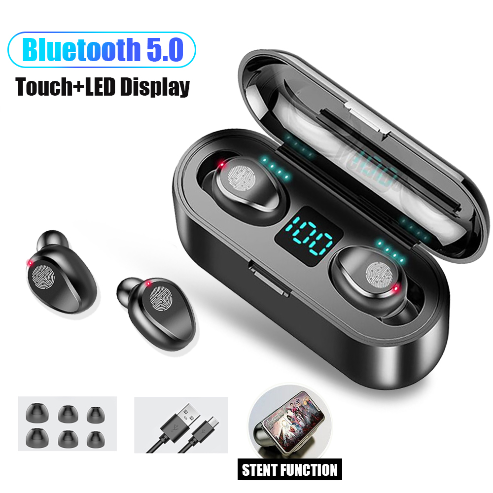 F9 TWS Bluetooth 5.0 wireless earphones headphone Touch Control Earphones Stereo sport Headset LED Display Gaming Auriculare(China)