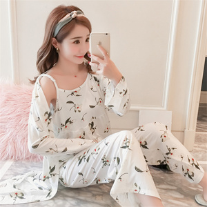 Image 4 - Suknia ustawia kobiety koreański styl codzienne drukowane słodkie szaty damskie modne oddychające eleganckie ubrania Homewear miękkie studenci kobieta