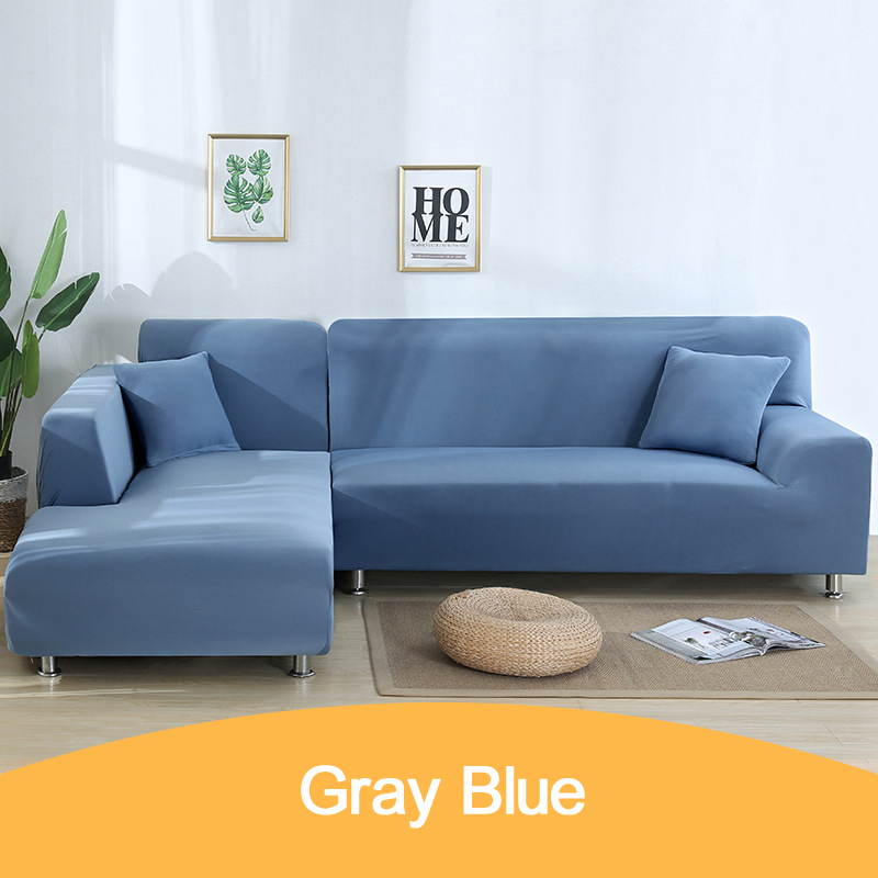 Solid Color Spandex Corner Sectional Sofa Cover l Shape Elastic Furniture Covers Slipcover Decorative Cushion Covers for Sofa image