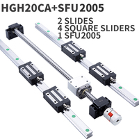 1 set of SFU2005 ball screw + 2 HGH20 arbitrary length + 4 HGH20CA linear guide high assembly square load linear motion|Linear Guides| |  -