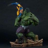 Large Size 36cm Combat Scene Version Hulk VS Wolverine PVC Action Figure Statue Collection Model Adult Gift X4463