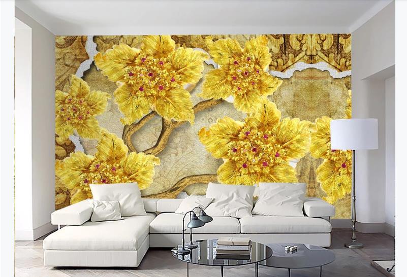 Custom 3D Wallpaper Mural Design High Grade Gold Flower Wall Murals Living Room Sofa TV Backdrop Wallpaper