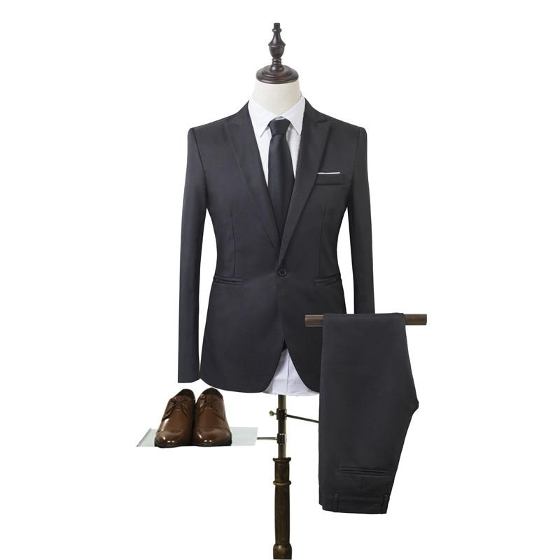 MEN'S Suit Set 2018 Fashion Casual Business Suit Korean-style Slim Fit Men'S Wear Suit Tz03