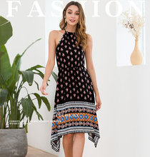 Wrap Ladies Dresses Waist Chiffon Printed Hater Dress Midi Women Summer