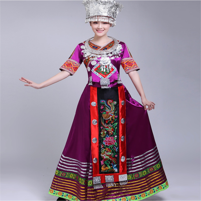 Womens Clothing Woman African Dresses Chinese Miao Clothing Hmong Miao Clothing National Dance Costumes Minority Dance Clothing