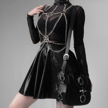 Rosetic Women Gothic Necklaces Iron Chain Five-star Hanging Neck Jewelry Punk Sexy Corset Abstinence Tie Collar Punk Goth Wear