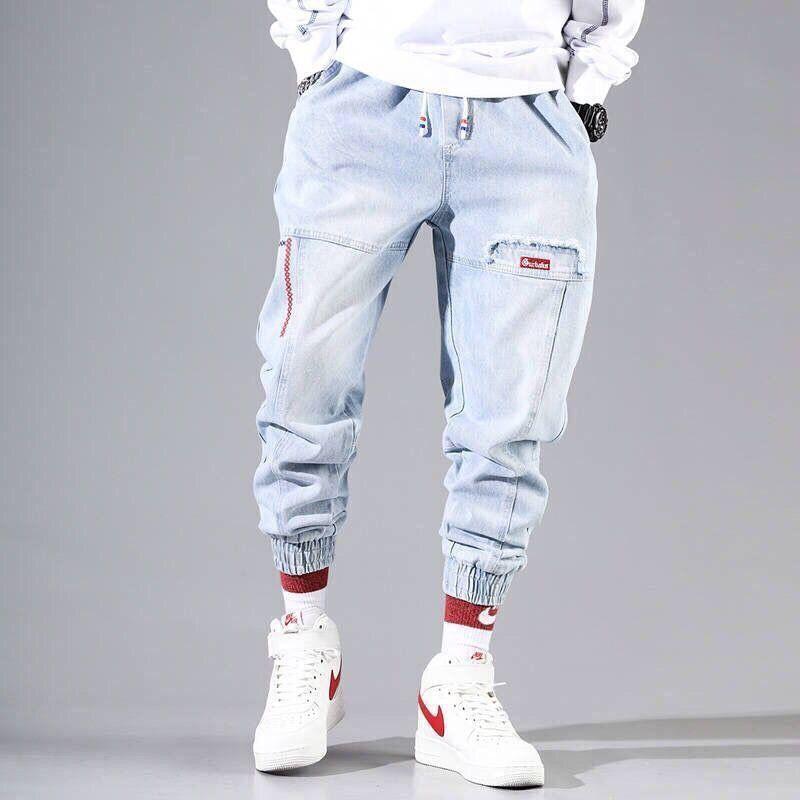 2021 New Streetwear Hip Hop Cargo Pants Men's jeans Cargo Pants Elastic Harun pants Joggers Pants In Autumn and Spring Men Cloth