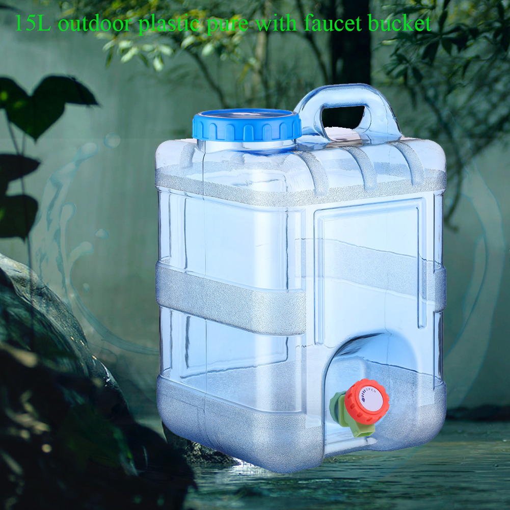 15L Food Grade With Faucet Container Camping Outdoor Reusable Storage Picnic Portable With Lid Home Drinking Water Bucket