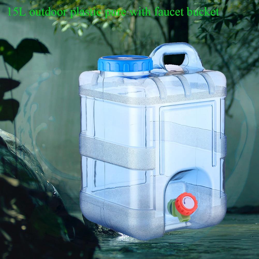 Spor ve Eğlence'ten Su Torbaları'de 15L Gıda Sınıfı Musluk Konteyner Kamp Açık Kullanımlık Depolama Piknik Taşınabilir Kapaklı Ev Içme su kovası title=