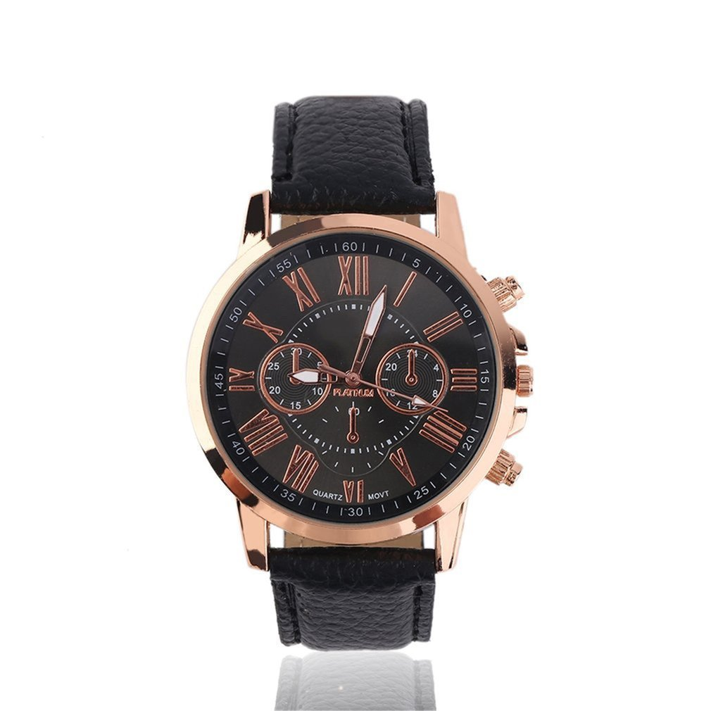 GENBOLI Unisex Men Male Casual Stylish Numerals Faux Leather Quartz Watch Montre Femme Fashion Brand Women Watches Relojes Mujer