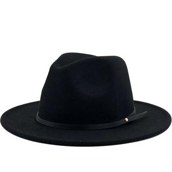 Proste damskie wełniane dla mężczyzn Vintage Gangster Trilby filcowy kapelusz Fedora z szerokim rondem dżentelmen elegancka dama zima jesień czapki jazzowe tanie i dobre opinie jiangxihuitian Unisex COTTON Wełniana Dla osób dorosłych hats for women Na co dzień Stałe Fedoras 55-58CM adjused size