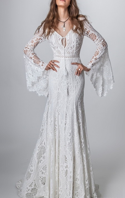 803#2021 New Design Long Lantern Sleeve Empire V-Neck Backless Small Train Beauty Backless Lace Boho Beach Wedding Dresses Women 3