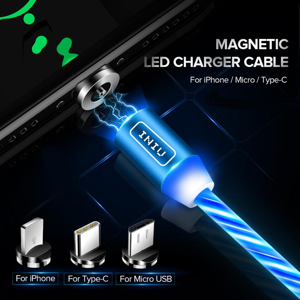 INIU Flow Luminous Lighting Magnetic USB Cable For iPhone XR X 7 8 Micro Type C Charger
