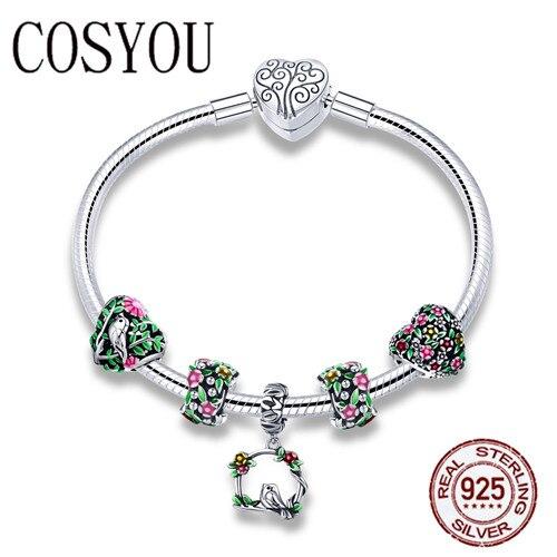 COSYOU Real 925 argent Sterling printemps fleur émail coloré bracelets porte-bonheur et bracelets pour femmes bijoux en argent Sterling SCB804