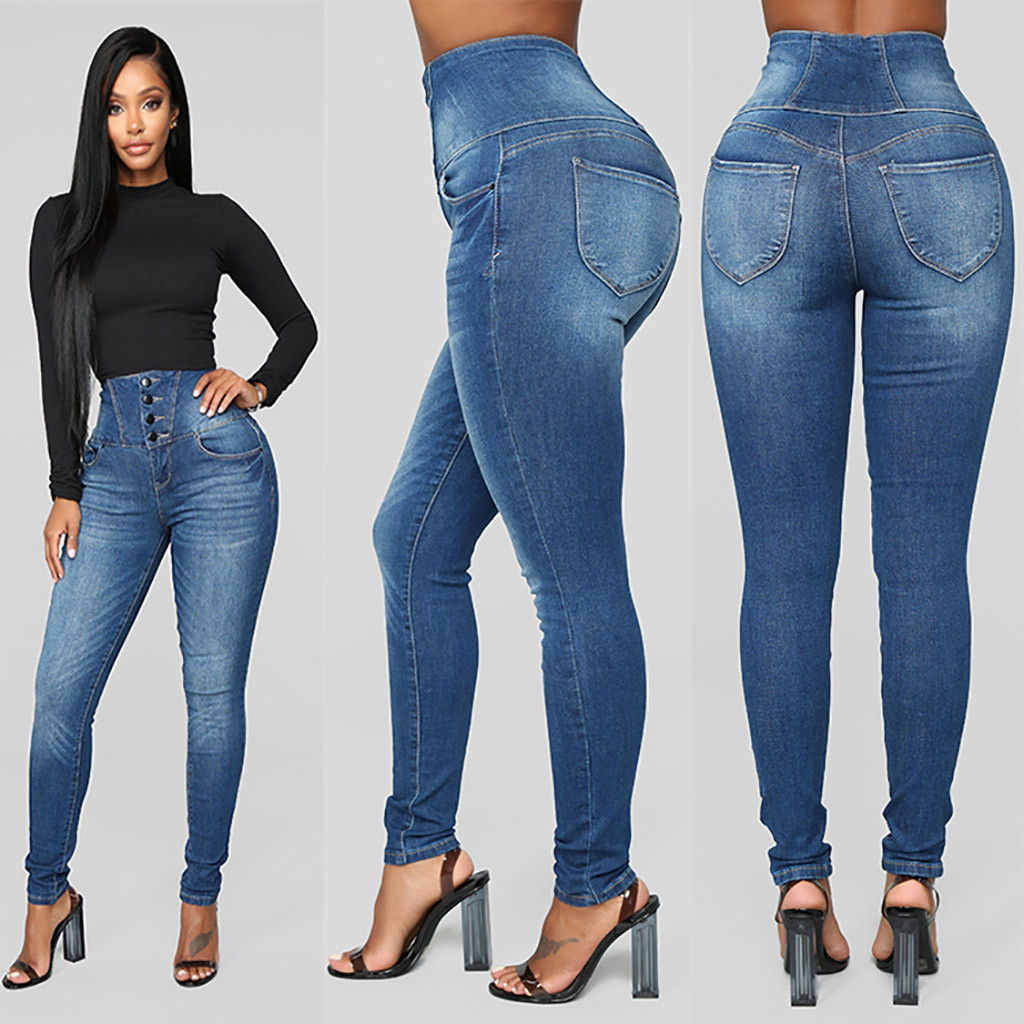 Jeans Woman Button Slim Pants Jeans Vintage High Waist Cropped Jeans Trousers Elastic Slim Skinny Denim Pant Trousers D0