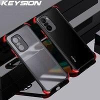KEYSION matowy pokrowiec do Redmi Note 10 Pro 10S 9S 9T 9A 8 7 K40 przezroczysty, odporny na wstrząsy futerał na telefon do Xiaomi Mi 11i POCO X3 NFC M3 F3