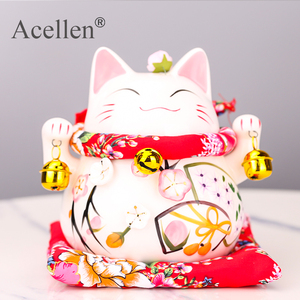 Maneki Neko Ceramic Lucky Cat Home Decor Porcelain Ornaments Business Gifts Fortune Cat Money Box Fengshui Craft Lucky Cat(China)