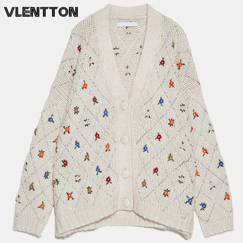 цена на Autumn Winter Fashion Embroidery Cardigans Coat Women Sexy V-Neck Casual Loose Jacket Outwear Female Tops Oversize Knit Sweater
