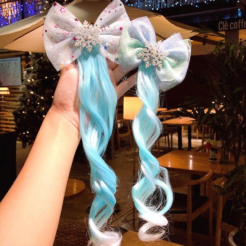 New Girls Beauty Snowflake Bow Blue Braid Hair Clips Children Sweet Headband Hair Ornament Hairpin Kids Fashion Hair Accessories