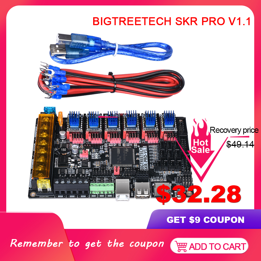 BIQU BIGTREETECH SKR Pro V1.1 32 Bit Motherboard WIFI With TMC2209 TMC2208 UART TMC2130 SPI Driver VS MKS GenL 3d Printer Parts