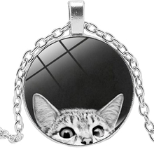 New Jewelry Statement Necklace Cute Cat Creative Time Glass Convex Round Pendant Childrens Gift