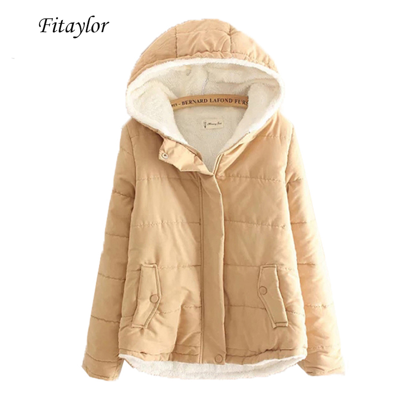 Fitaylor Autumn Winter Woman Jacket Short Design Warm Slim Parkas Hooded Jacket Solid Color Cotton Coat Cute Outwear