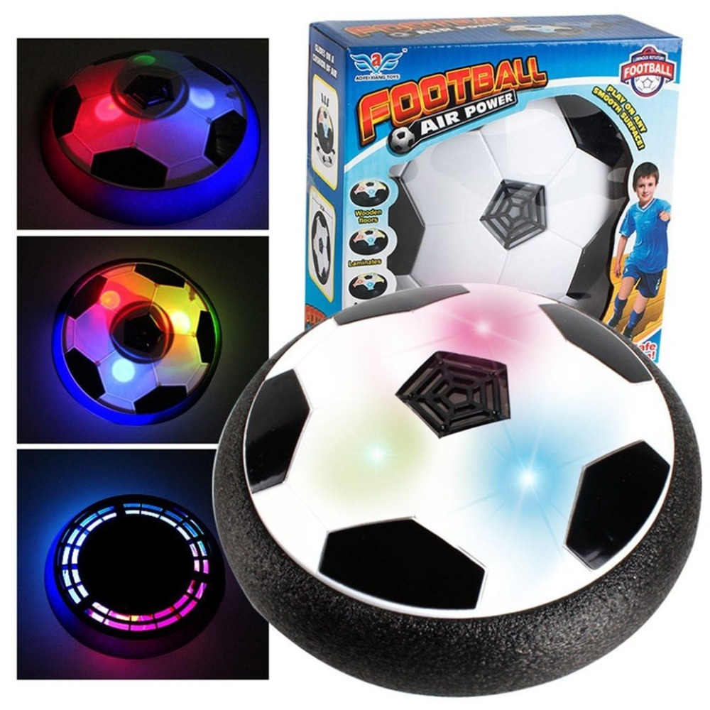 18CM Funny LED Light Flashing Ball Air Power Football Toys Boy Home Game Disc Gliding Soccer Stress Indoor Balls Kid Boy Gift