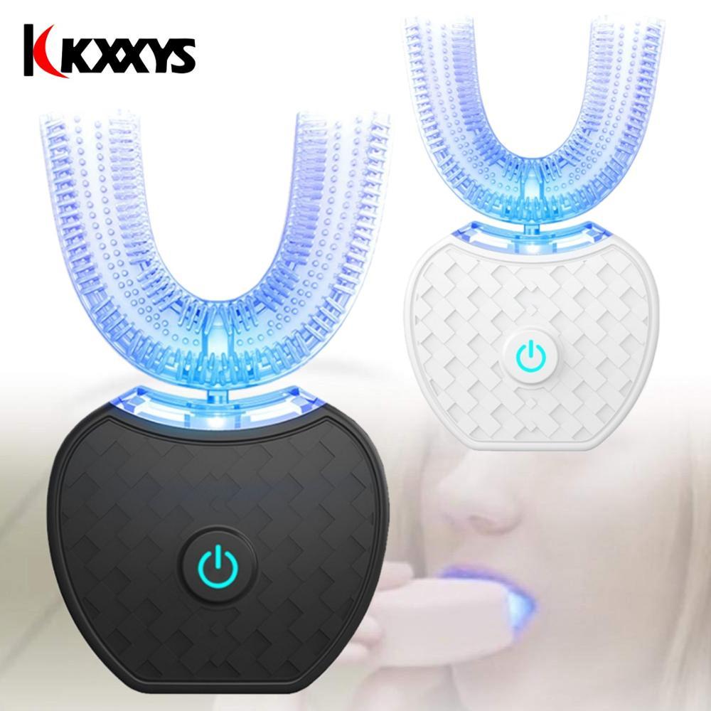 Ultrasonic U Shape 360 Degrees Intelligent Automatic Sonic Lazy Electric Toothbrush Blue Light USB Charging Tooth Whitening