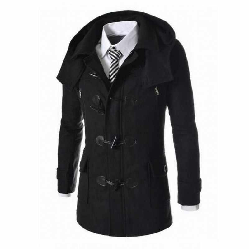 2020 novo inverno dos homens casacos de lã fino ajuste casual longo casacos moda sólida destacável com capuz outerwear plus size M-3XL