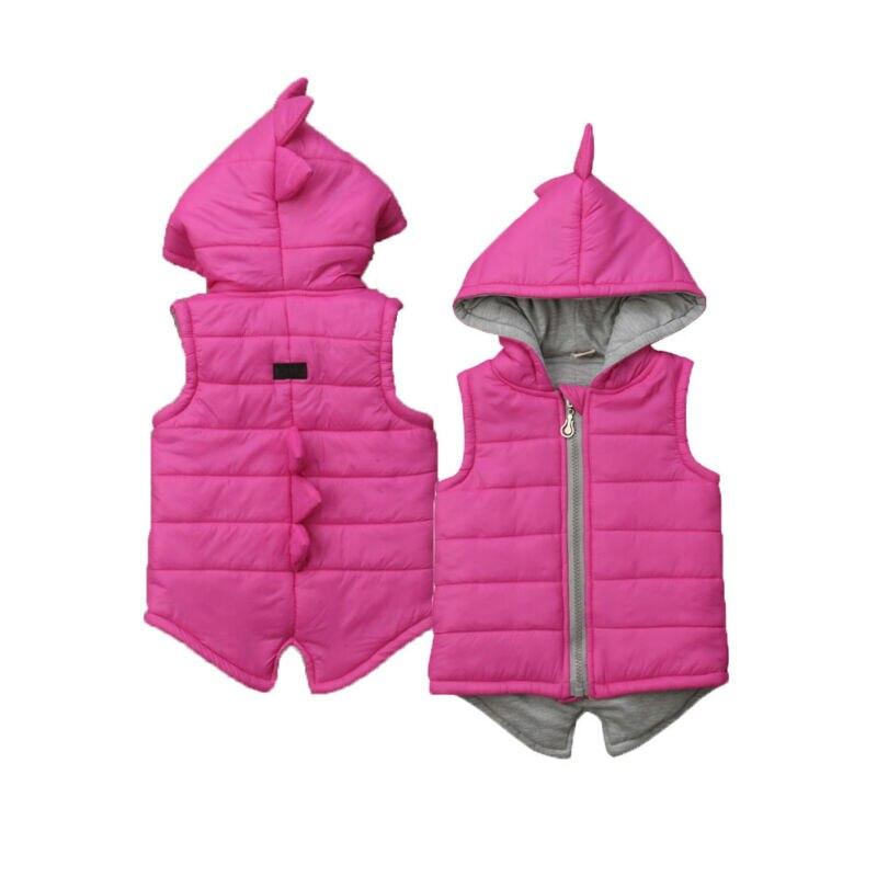 2019 Brand New Infant Kids Baby Girl Boy Dinosaur Vest Down Hooded Zipper Jacket Waistcoat Coat Winter Thick Warm Outwear 0-5T
