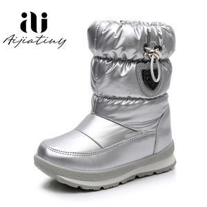 Image 2 - Russia childrens winter boots ankle kids snow boots girls winter shoes Fashion wool boys waterproof boots