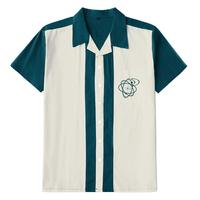 Vintage 1960s Embroidered Bowling Shirt Two Tone Teal Fashion Rockabilly Designer Shirts Camisa Masculina