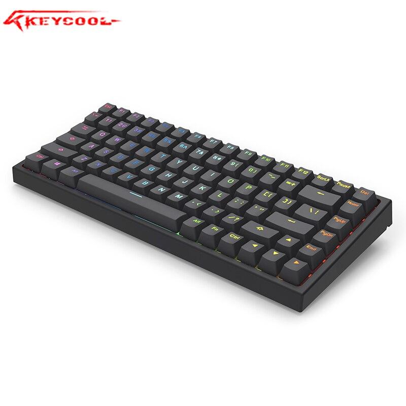 Keycool KC84 Black RGB Backlit Mechanical Game Keyboard 84 Keys Mini Layout , Hotswaple Optical Switch Portable Keyboard