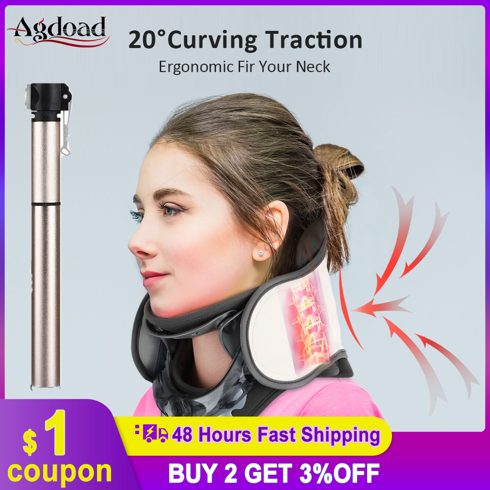 Adjustable Inflatable Neck Cervical Traction Device Neck Stretcher Collar Stretching Correction Therapy Health Care Pain Relief